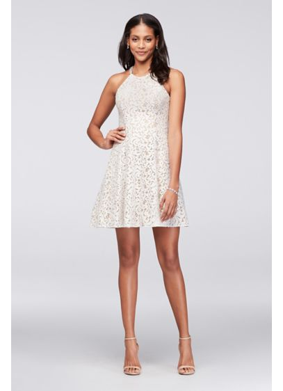 Short A-Line Halter Prom Dress - Betsy and Adam
