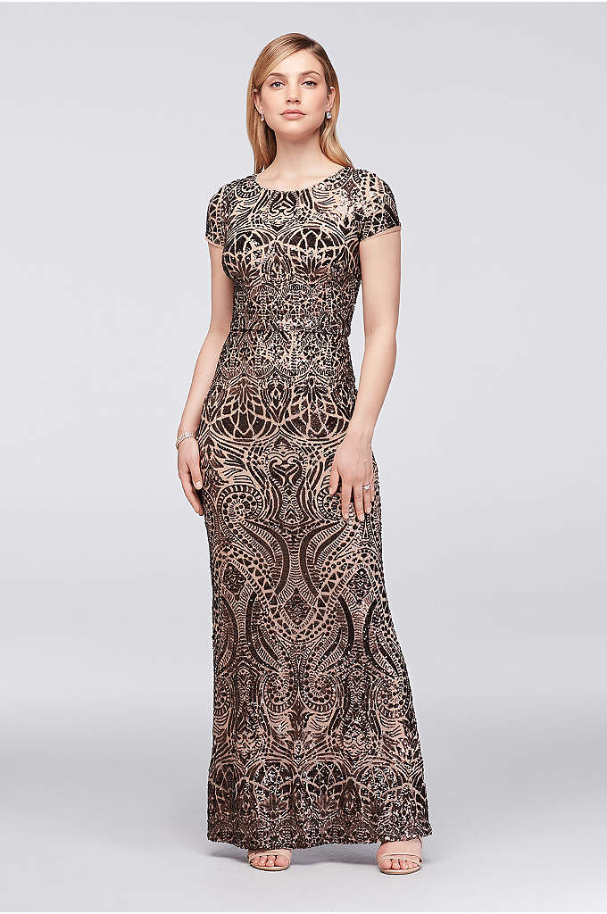 Allover Sequin-Embellished Mesh Column Gown - Shimmering bronze sequins create a breathtaking allover pattern