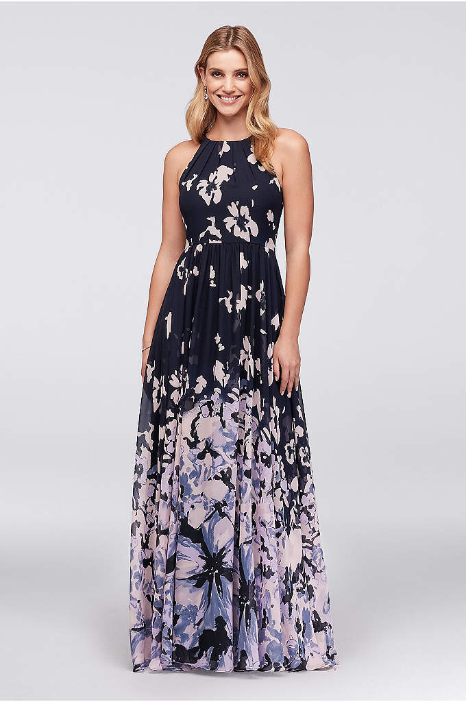 Abstract Floral Chiffon Tie-Back Gown - Sprinkled from the rounded, tie-nape bodice, printed flower