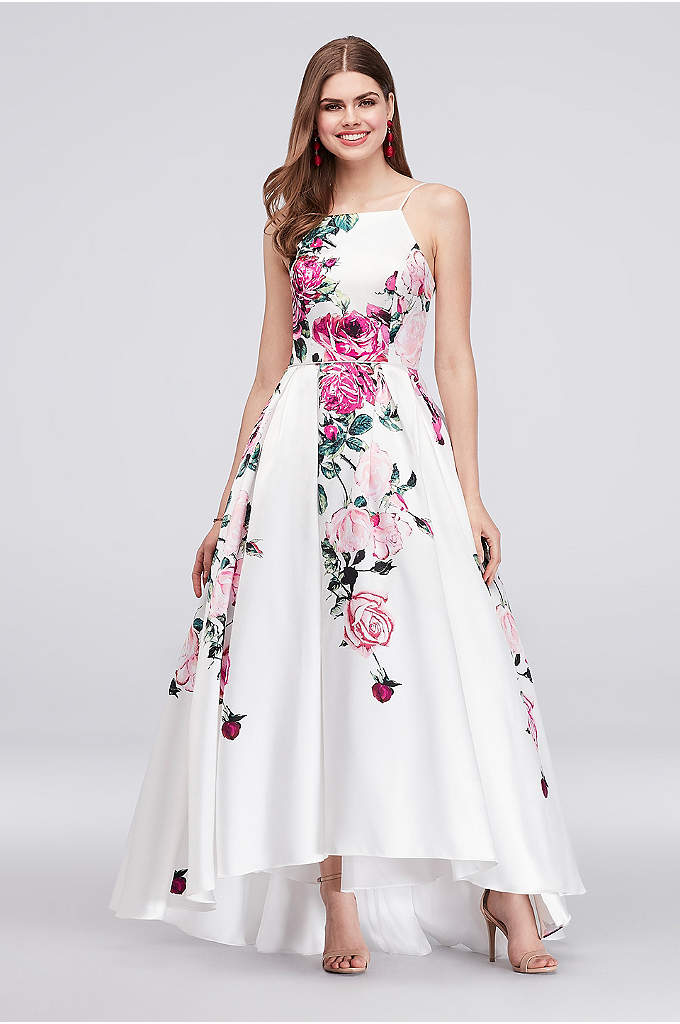 High-Neck Floral Print High-Low Ball Gown - Bold roses bloom down the high-neck bodice and