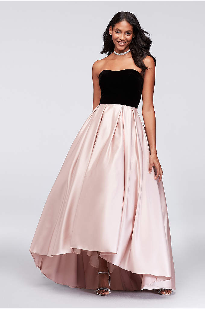 Velvet and Mikado Strapless Ball Gown - Just gorgeous! This mixed-texture ball gown features a