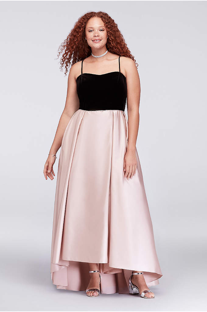 Velvet and Mikado Strapless Plus Size Ball Gown - Just gorgeous! This mixed-texture plus-size ball gown features