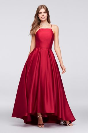 High-Neck Satin Ball Gown - Crafted of lustrous satin, this high-neck, spaghetti-strap ball