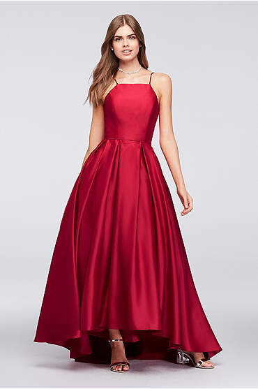 High-Neck Satin Ball Gown