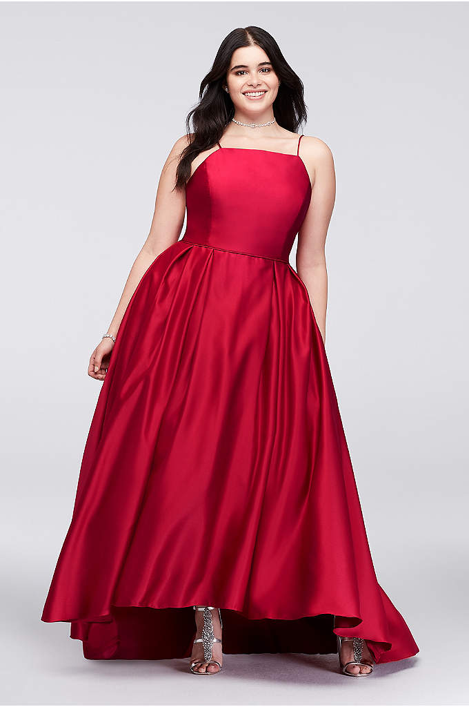 High-Neck Satin Plus Size Ball Gown - Crafted of lustrous satin, this high-neck, spaghetti-strap, plus-size