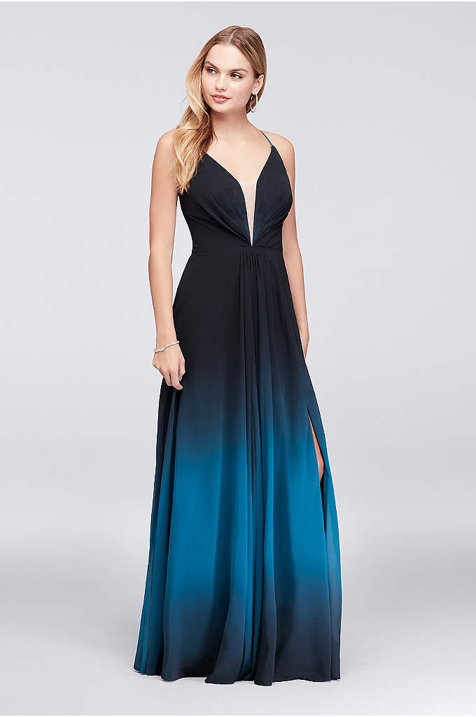 Ombre Chiffon Halter A-Line Gown - This soft and sophisticated chiffon gown fades to
