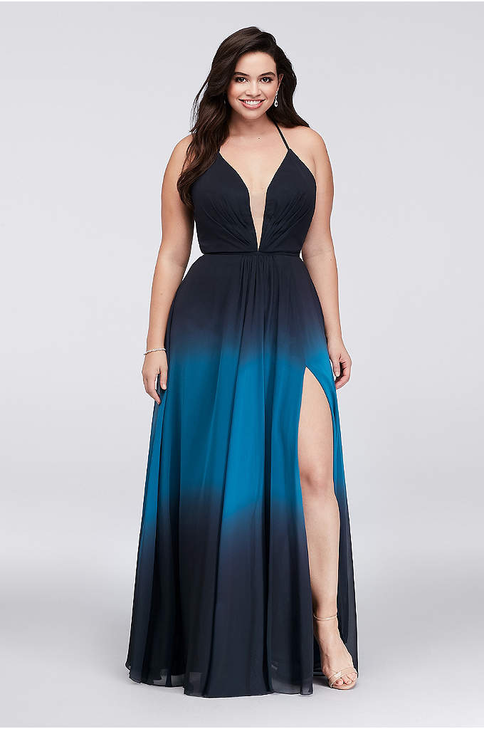 Ombre Chiffon Halter A-Line Plus Size Gown - This soft and sophisticated plus-size chiffon gown fades