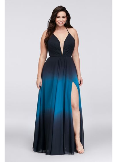 Long A-Line Spaghetti Strap Prom Dress - Betsy and Adam