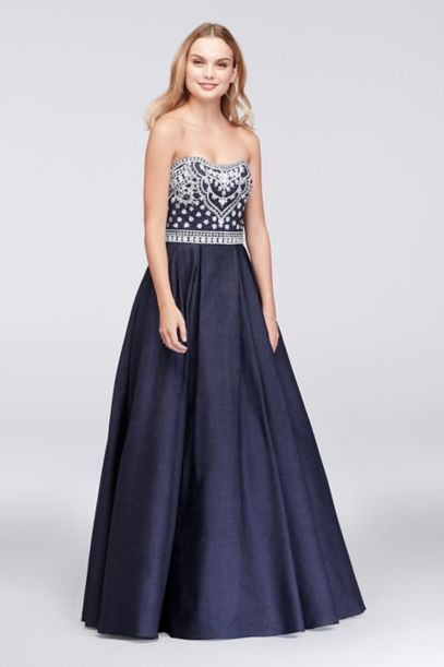 Embroidered Denim Ball Gown | David's Bridal
