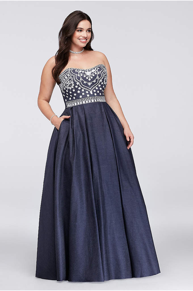 Embroidered Denim Plus Size Ball Gown - Wow! We haven't seen a dress quite like