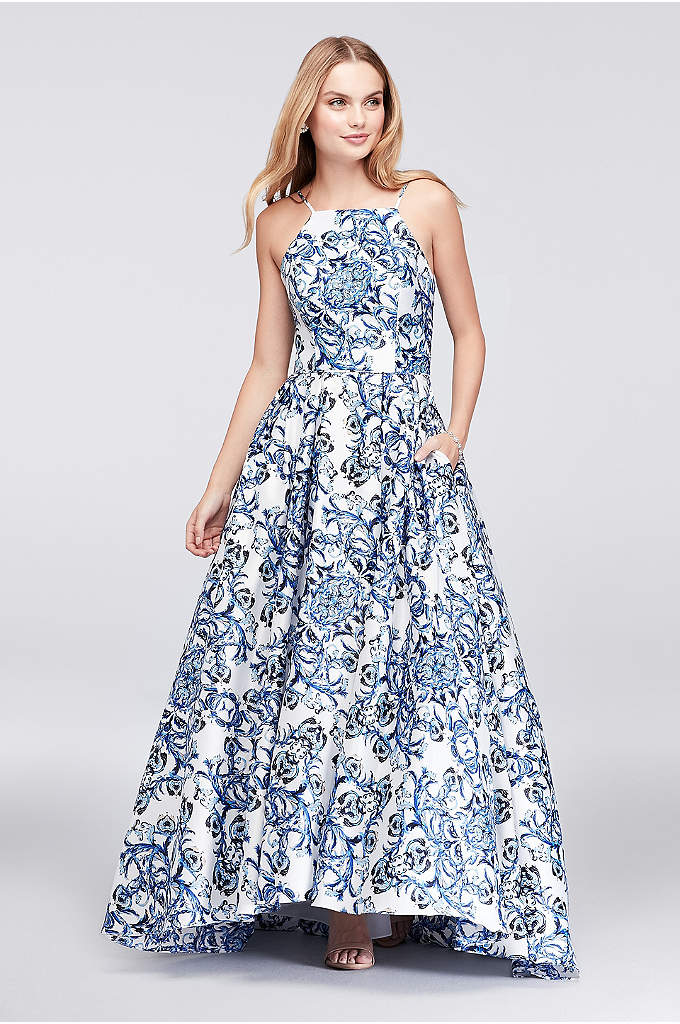 Printed Satin Halter Ball Gown with Lace-Up Back - This lustrous satin ball gown is printed in