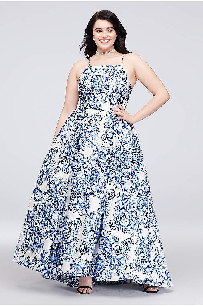Printed Satin Plus Size Gown with Lace-Up Back - This lustrous satin plus-size ball gown is printed