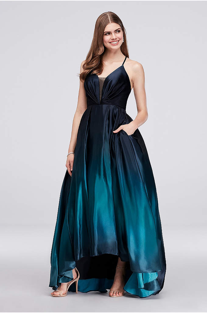 Strappy Satin Ombre High-Low Ball Gown - This ball gown's changing tones create an eye-catching
