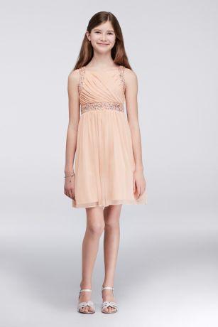 Pleated Chiffon Party Dress with Beading   David's Bridal