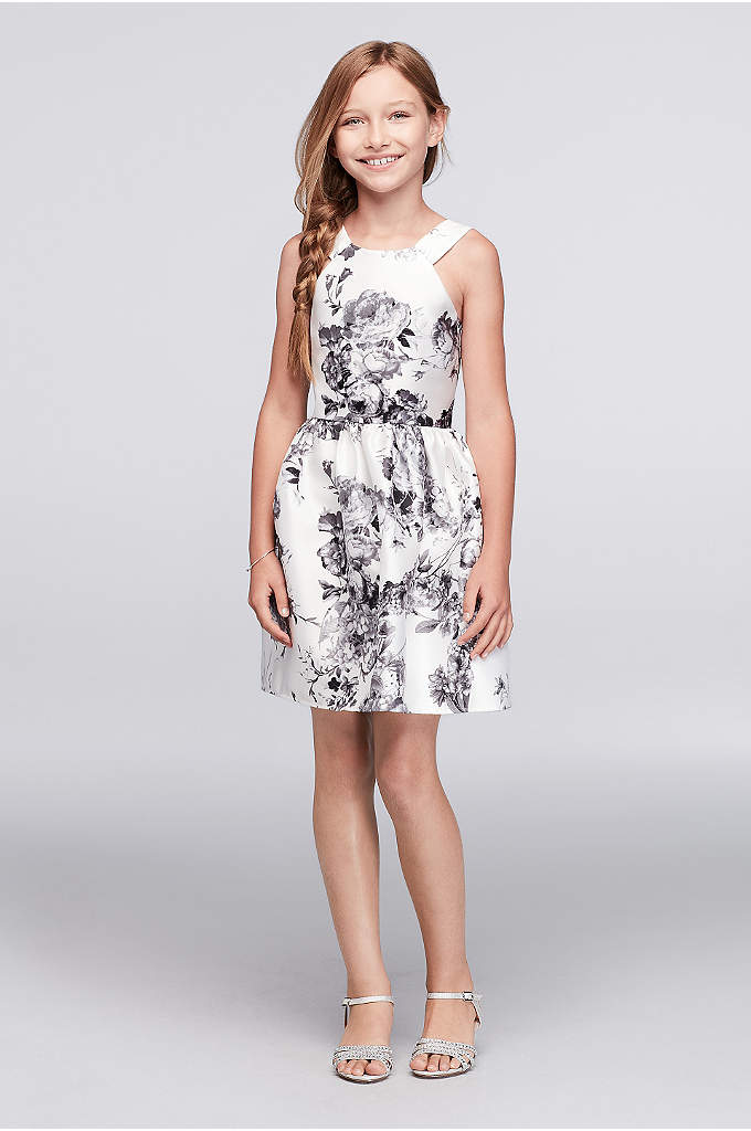Floral Party Dress with Cutaway Neckline - Bold black flowers bloom on this fit-and-flare Mikado