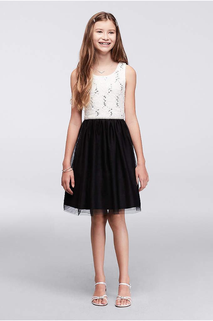 Sequin Lace and Tulle Girls Party Dress