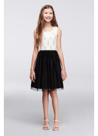 Short Black Soft & Flowy Poppies and Roses Bridesmaid Dress