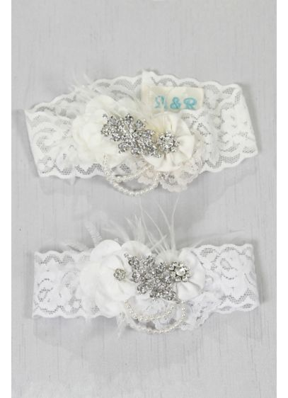 Personalized Rhinestone Pearl Vintage Lace Garter - Wedding Gifts & Decorations