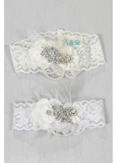 Personalized Rhinestone Pearl Vintage Lace Garter A91393