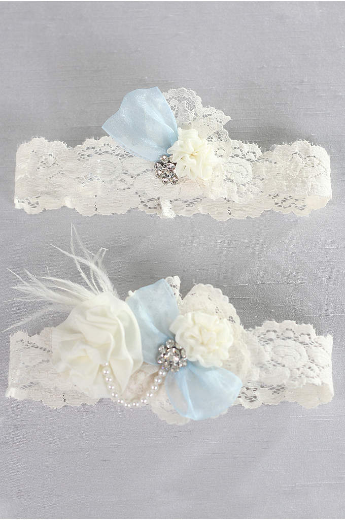Something Blue Vintage Lace Garter Set - Add something blue to your day with this