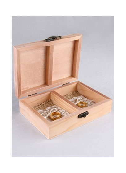 Wood and Burlap Ring Bearer Box - Wedding Gifts & Decorations