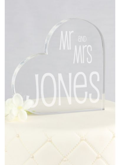 Personalized Last Name Heart Acrylic Cake Topper - Wedding Gifts & Decorations