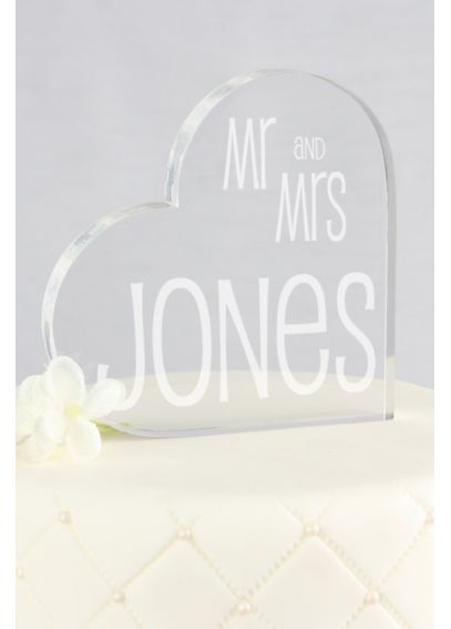Personalized Last Name Heart Acrylic Cake Topper A91719