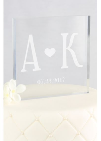 Personalized Initials Square Acrylic Cake Topper A91720