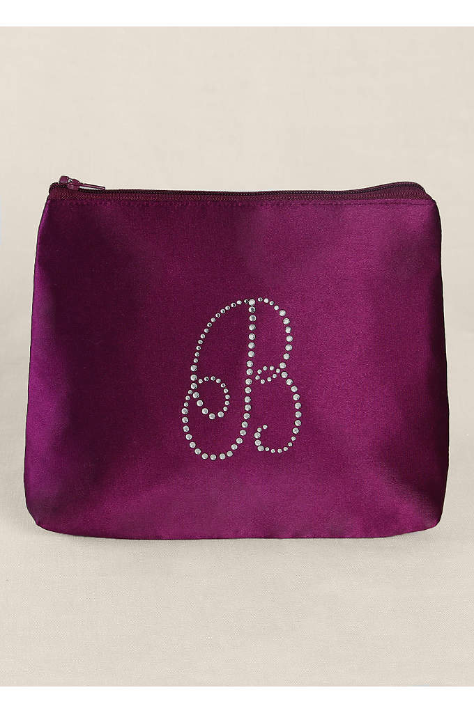 Personalized Rhinestone Initial Cosmetic Bag - Personalize this gorgeous satin jewelry roll with a