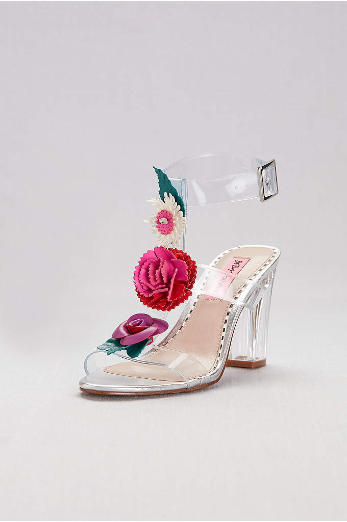 Clear Strappy Sandals with Colorful Floral Detail - Perched on a chunky Lucite heel, these clear