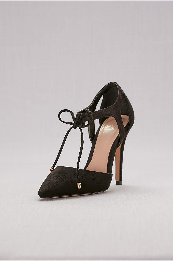 Faux-Suede Ankle-Tie Pointed-Toe Pumps - A chic pair for a night on the