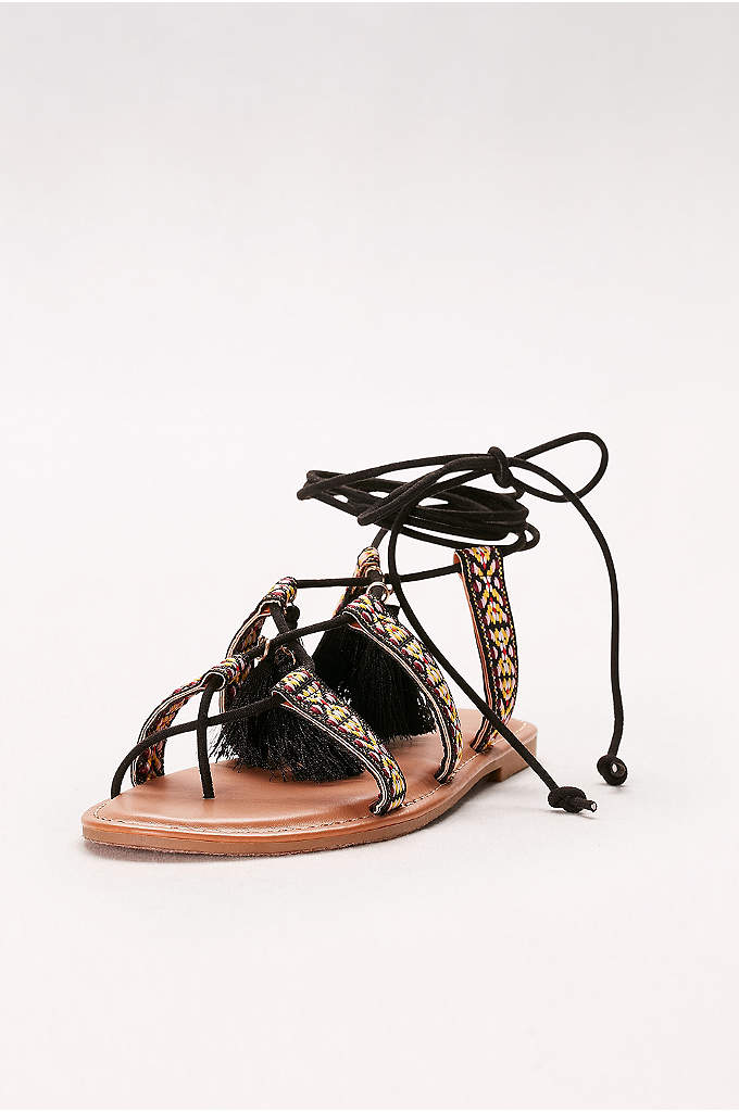 Lace-Up Gladiator Sandals with Tassels - A boho finish to maxi dresses and more,
