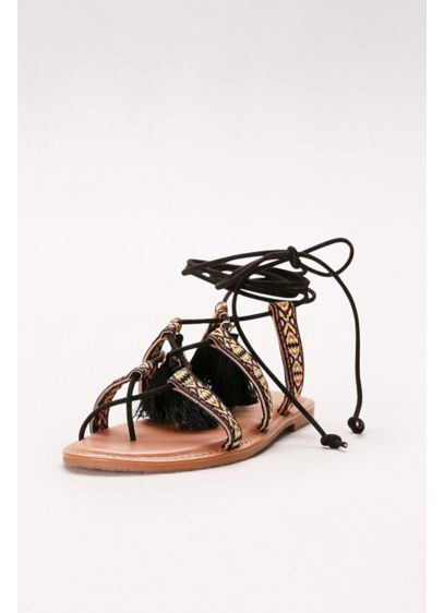 Bamboo Black (Lace-Up Gladiator Sandals with Tassels)