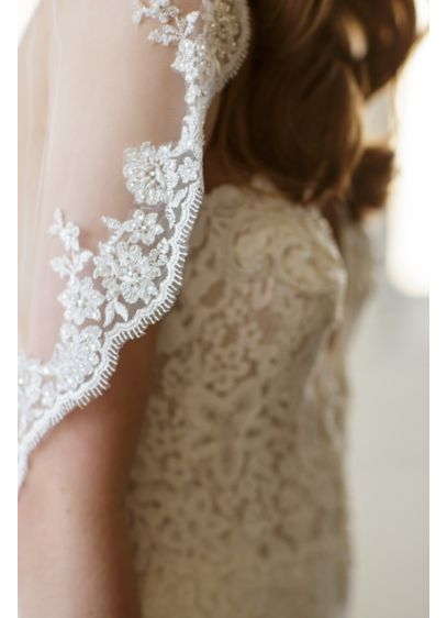 Scalloped Alencon Lace-Trimmed Veil with Comb - Wedding Accessories