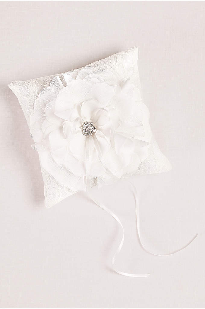 Layered Flower Ring Pillow - Layers of petal-inspired chiffon bloom around a central
