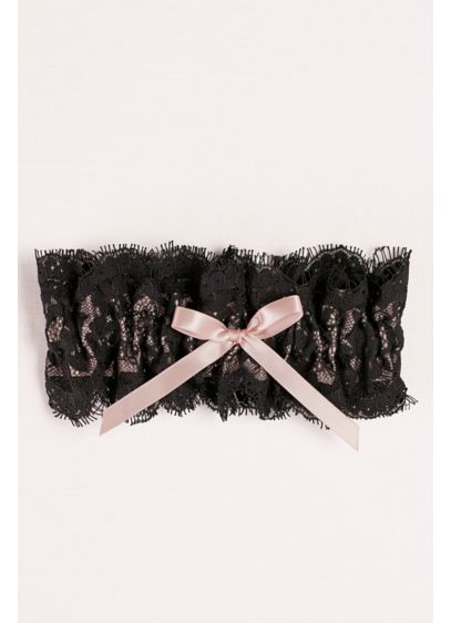 Black (Layered Lace Garter with Satin Bow)