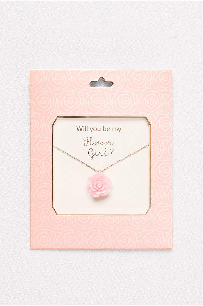 Flower Girl Necklace - A perfect pink rose, blooming on a delicate