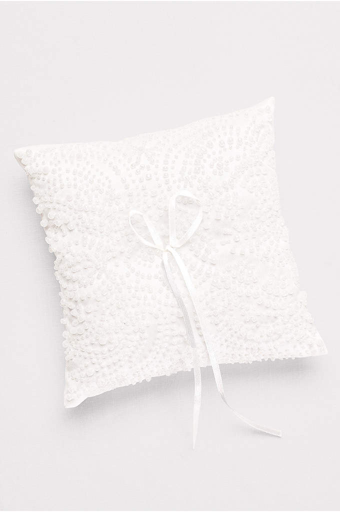 Beaded Satin Ring Pillow - Pearlescent beads create a lovely textural motif on