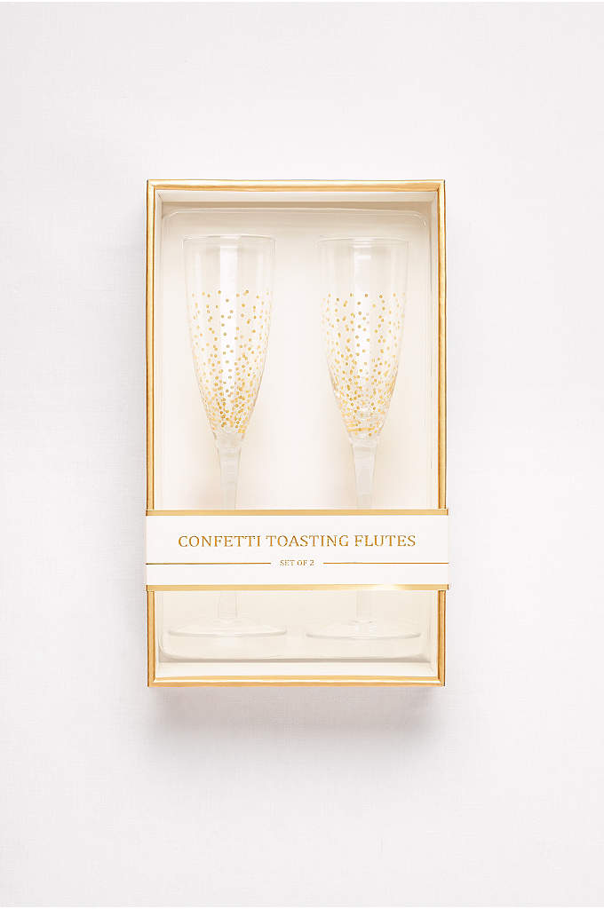 Gold Confetti Toasting Flute Set - Toast to a happy marriage and every joyful