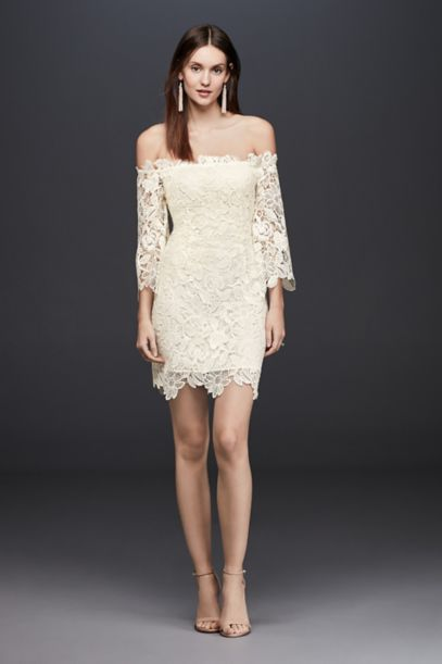 Off-The-Shoulder Short Lace Dress with 3/4-Sleeves | David's Bridal