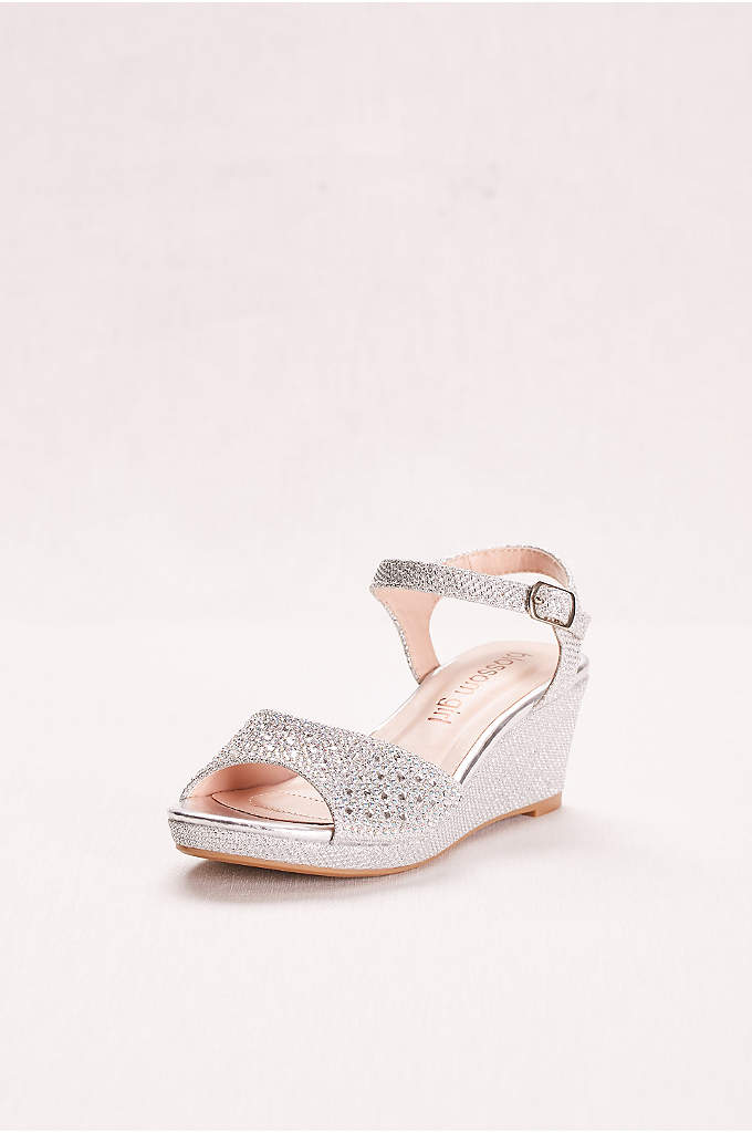 Crystal Studded Girls' Glitter Wedge - Ideal for junior bridesmaids, these sparkling party shoes