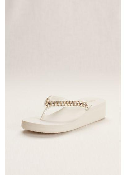 David's Bridal Ivory (Platform Flip Flop with Crystal Accents)