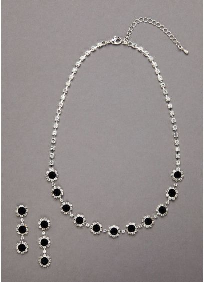 Clear and Black Crystal Necklace and Earring Set - Wedding Accessories