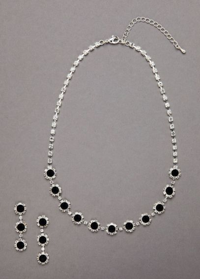 Clear and Black Crystal Necklace and Earring Set ACS152