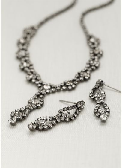 Double Drop Crystal Earring and Necklace Set - Wedding Accessories