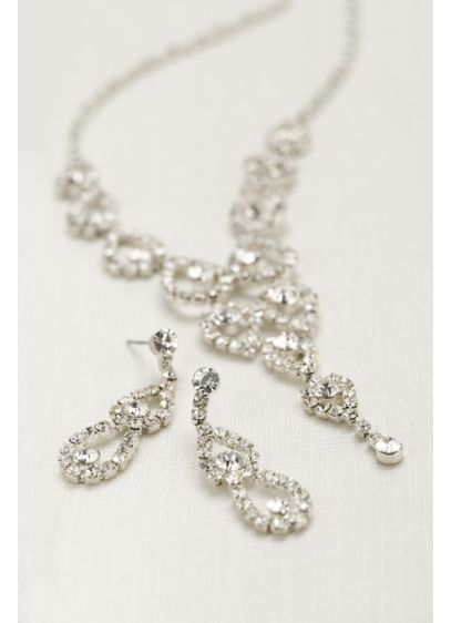 Crystal Pear Shaped Y Necklace and Earring Set - Wedding Accessories