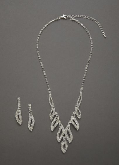 Crystal Leaf Design Necklace and Earring Set ACS333