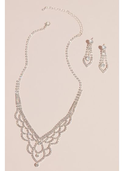 Deep V Scalloped Necklace and Earring Set - Wedding Accessories