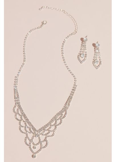 Deep V Scalloped Necklace and Earring Set ACS632