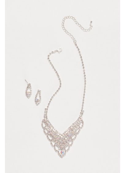 Scalloped Crystal Y-Necklace and Earring Set - Wedding Accessories
